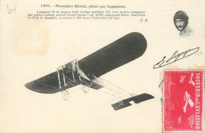 MARCOPHILIE VIGNETTE sur CPA Aviation Monoplan Blériot