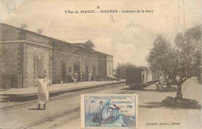 MARCOPHILIE VIGNETTE sur CPA MAROC Meknès, la gare