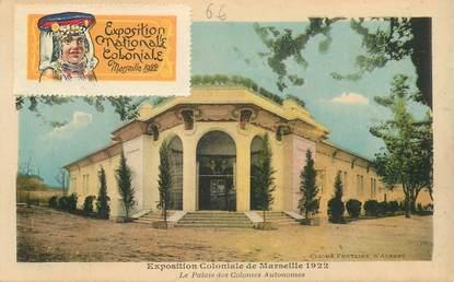 MARCOPHILIE VIGNETTE sur CPA Exposition Coloniale de Marseille 1922