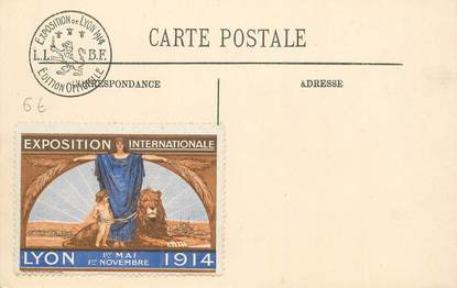 MARCOPHILIE VIGNETTE sur CPA Exposition Internationale de Lyon 1914