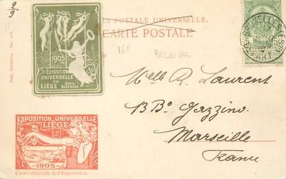 MARCOPHILIE VIGNETTE sur CPA BELGIQUE Exposition Universelle de Liège