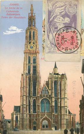 MARCOPHILIE VIGNETTE sur CPA BELGIQUE Anvers