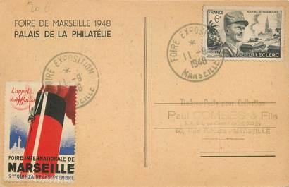 MARCOPHILIE VIGNETTE sur CPA FRANCE 13 Marseille, Foire internationale 1948