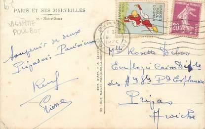 MARCOPHILIE VIGNETTE POULBOT sur CPA FRANCE 75 Paris