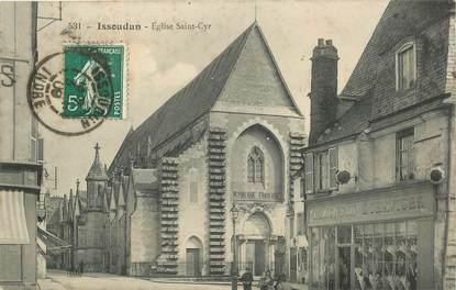 "- CPA FRANCE 36 ""Issoudun, Eglise Saint Cyr, magasin de parapluies"""