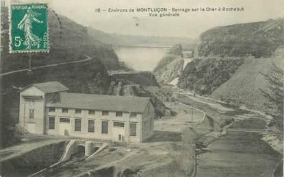 """- CPA FRANCE 03 """"Env. de Montluçon, le barrage à Rochebut"""""""