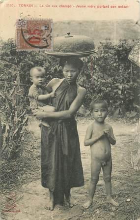 """CPA VIETNAM """"Tonkin, la vie aux champs, jeune mère"""""""