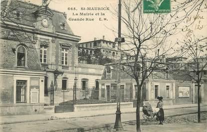 """CPA FRANCE 94 """"Saint Maurice, la Mairie et la grande rue"""""""