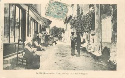 """CPA FRANCE 86 """"Saint Jean de Sauves, la rue de l'Eglise"""""""