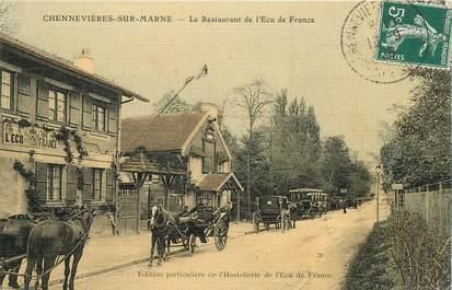 """CPA FRANCE 94 """"Chennevières sur Marne, le restaurant de l'Ecu de France"""" / Carte colorisée et toilée / Ed. Ecu de France"""