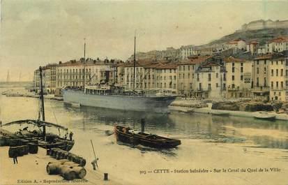 """CPA FRANCE 34 """"Cette, sur le canal"""" / PENICHE / BATELLERIE"""