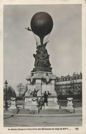 """CPA FRANCE 75 """"Paris, Neuilly sur Seine, le monument des aéronautes 1870"""""""