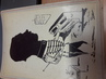 RARE LOT 28 DESSIN CARICATURE OMBRE / SILHOUETTE MILITAIRE sur support rigide photo / SURREALISME