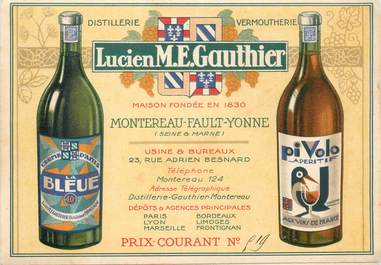 """CPA LIVRET FRANCE 77 """"Montereau, distillerie Lucien M.E. GAUTHIER"""""""