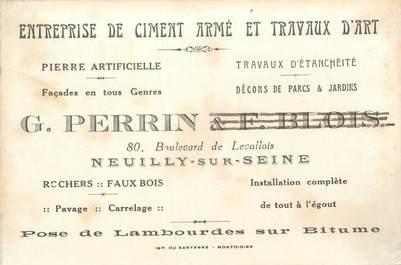 """CPA / PETIT PAPIER FRANCE 92 """"Neuilly sur Seine, Entreprise de Ciment armé et travaux d'Art G. PERRIN"""""""