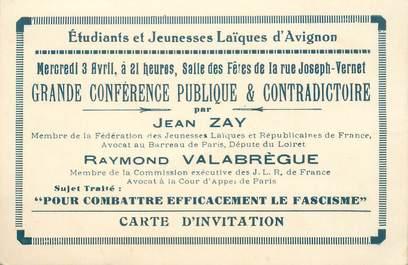 """CPA / PETIT PAPIER FRANCE 84 """"Avignon, Carton d'Invitation Jeunesse laïque contre le fascisme"""" / 2EME GUERRE"""