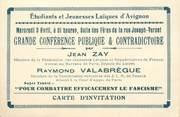 """Vieux Papier CPA / PETIT PAPIER FRANCE 84 """"Avignon, Carton d'Invitation Jeunesse laïque contre le fascisme"""" / 2EME GUERRE"""