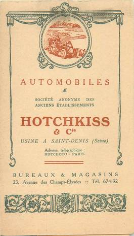 CPA / PETIT PAPIER AUTOMOBILE / HOTCHKISS