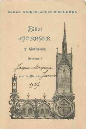 """CPA / PETIT PAPIER FRANCE 45 """"Orléans, Ecole Sainte Croix, Billet d'Honneur"""""""