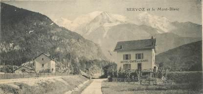 """CPA / PETIT PAPIER FRANCE 74 """"Servoz et le Mont Blanc"""" / PUBLICITE CHOCOLAT D'ANNECY"""