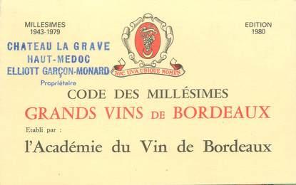 """CPA / PETIT PAPIER LIVRET FRANCE 33 """"Code des Grands Vins de Bordeaux"""" / ALCOOL"""
