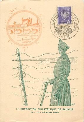 """CPA / PETIT PAPIER FRANCE 49 """"Exposition philatélique de Saumur, 1943"""""""