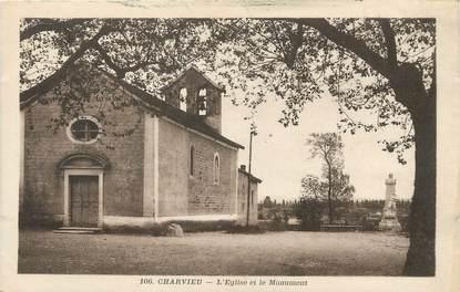 """/ CPA FRANCE 38 """"Charvieu, l'église et le monument"""""""