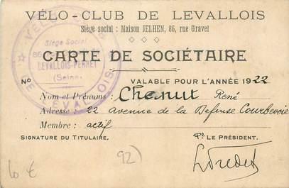 """CPA / PETIT PAPIER FRANCE 92 """"Levallois, Carte de sociétaire Vélo Club"""" / CYCLISME"""