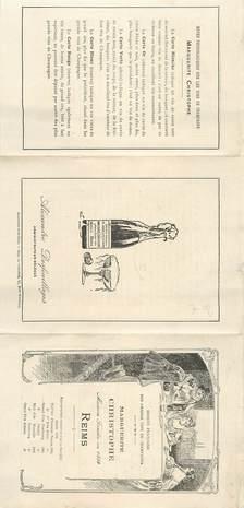 """CPA / PETIT PAPIER FRANCE 51 """"Reims, Maison CHRISTOPHE"""" / VIN / ALCOOL"""