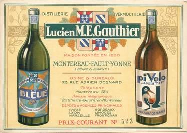 """CPA / PETIT PAPIER FRANCE 77 """"Montereau Fault Yonne"""" / VIN / ALCOOL / PUB LICITE"""