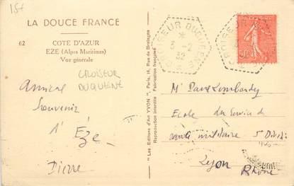 """MARCOPHILIE POSTE NAVALE sur CPA FRANCE """"Eze"""" / CROISEUR DUQUESNE"""