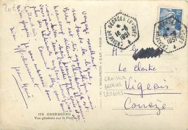 """MARCOPHILIE POSTE NAVALE sur CPSM FRANCE """"Cherbourg"""" / CROISEUR GEORGES LEYGUES"""