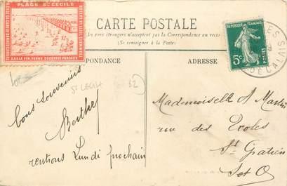 """MARCOPHILIE VIGNETTE sur CPA FRANCE 62 """"Boulogne sur Mer"""" / Vignette Plage Ste Cécile"""