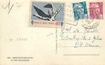 "MARCOPHILIE VIGNETTE sur CPA FRANCE 64 ""Hendaye"" / Vignette / Charles De Gaulle"