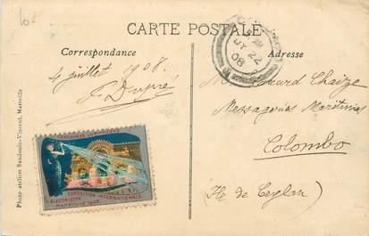 """MARCOPHILIE VIGNETTE sur CPA FRANCE 13 """"Marseille"""" / Exposition internationale d'Electricité 1908"""