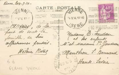 """MARCOPHILIE / OBLITERATION MECANIQUE LETTRE FLAMME sur CPA FRANCE 38 """"Vienne"""""""