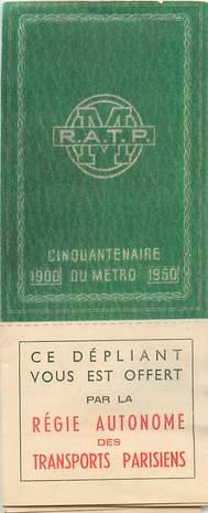 DEPLIANT RATP CINQUANTENAIRE DU METRO PARISIEN 1950