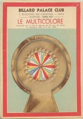 DEPLIANT CASINO / Billard Palace Club Le Multicolore (Paris VIIIe)