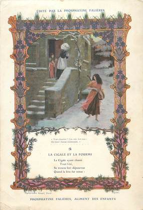 CARTE POSTALE GRAND FORMAT / PUBLICITÉ Phosphatine Falières, aliment des enfants / FABLE La Cigale et la Fourmi