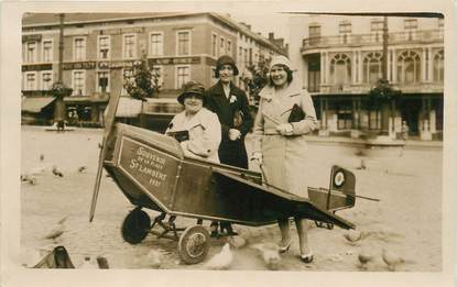 """CARTE PHOTO BELGIQUE """"Liège, Place Saint Lambert"""" / AVION / 1931"""
