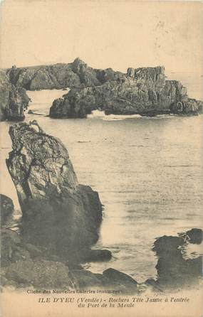 """CPA FRANCE 85 """"Ile d'Yeu, les rochers à Tête jaune"""""""