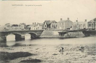 """CPA FRANCE 85 """"Saint Gilles Croix de Vie, les quais et la passerelle"""""""