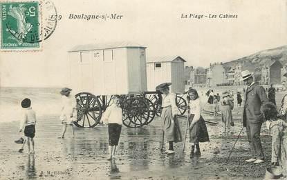 """/ CPA FRANCE 62 """"Boulogne sur Mer, la plage, les cabines"""""""