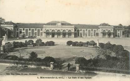 """CPA FRANCE 47 """"Marmande, la gare et son square"""""""