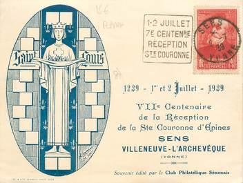 """CPA FRANCE 89 """"Sens, Villeneuve d'Archevêque"""" / FLAMME / PHILATÉLIE"""