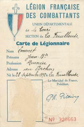 CARTE DE LEGIONNAIRE / 1941 LEGION FRANCAISE DES COMBATTANTS