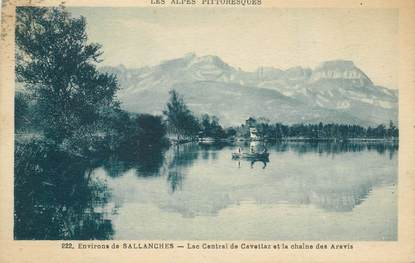 """CPA FRANCE 74 """"Env. de Sallanches, le Lac de Cavettaz et la chaine des Aravis"""""""