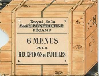 6 MENUS de l'Abbaye de Fécammp (76) / Bénédictine LIQUEUR / ALCOOL dans pochette