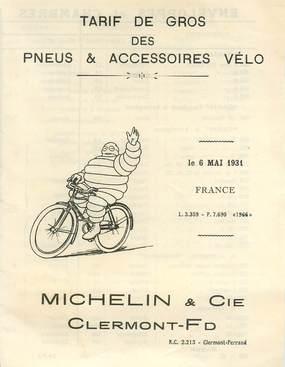 DEPLIANT PUBLICITAIRE / TARIF DE GROS PNEUS ET ACCESSOIRES MICHELIN / VELO