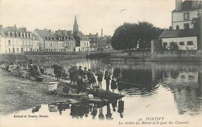 """CPA FRANCE 56 """"Pontivy, la rivière Le Blavet et le quai des Couvents"""""""